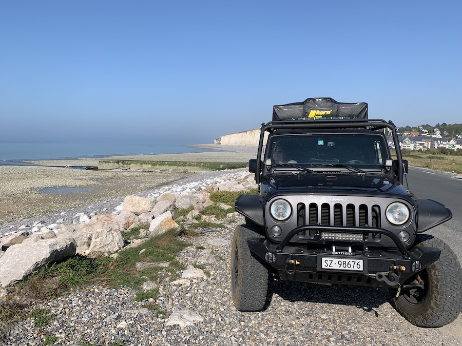 Jeep with roof top tent in Criel-sur-Mer, Upper Normandy