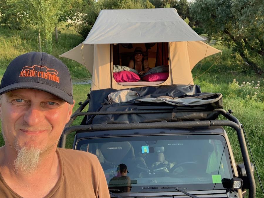 Schönster Campingplatz in Trouville-sur-Mer, le Chant des Oiseaux, Dachzelt Alex und Lucie