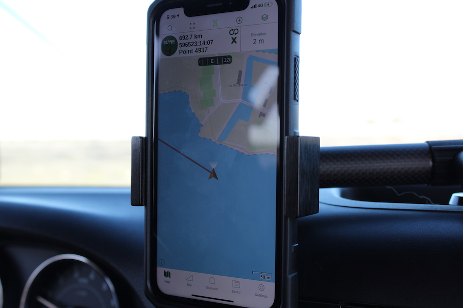Display on the GPS when you drive over the beach at low tide