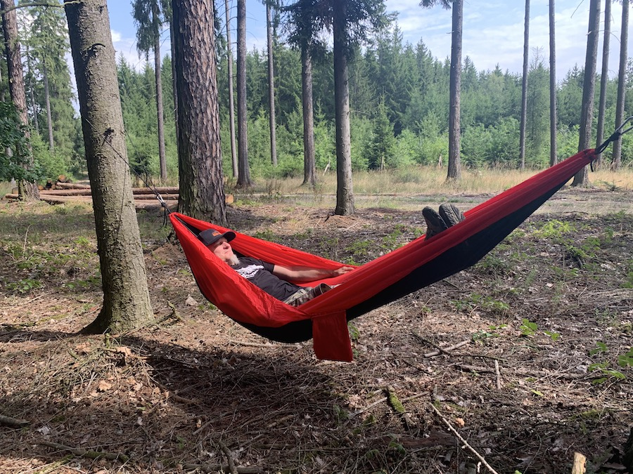 Alex takes a nap in the bohemian forest