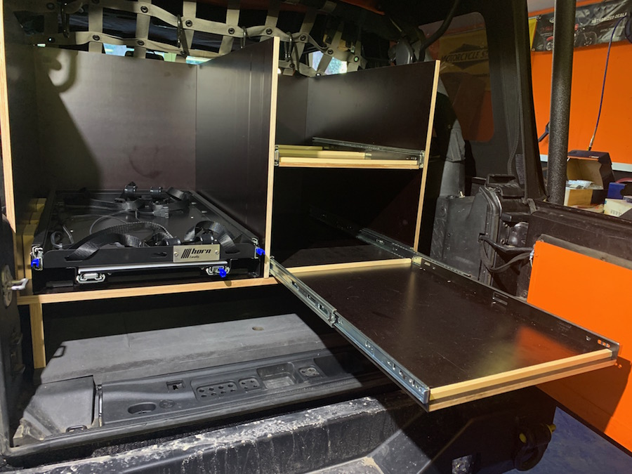 Storage Unit with drawers for storage boxes and the fridge, mounted in our Jeep JKU