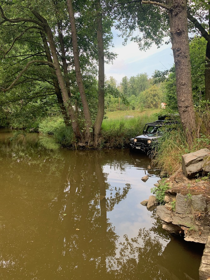 Hard to find out how deep the river is and what the ground conditions are. Overlanding Southern Bohemia