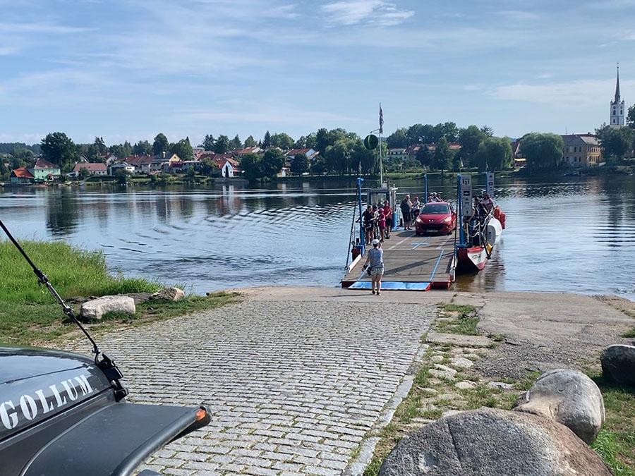 Ferry across the Vltava River to Frymburk