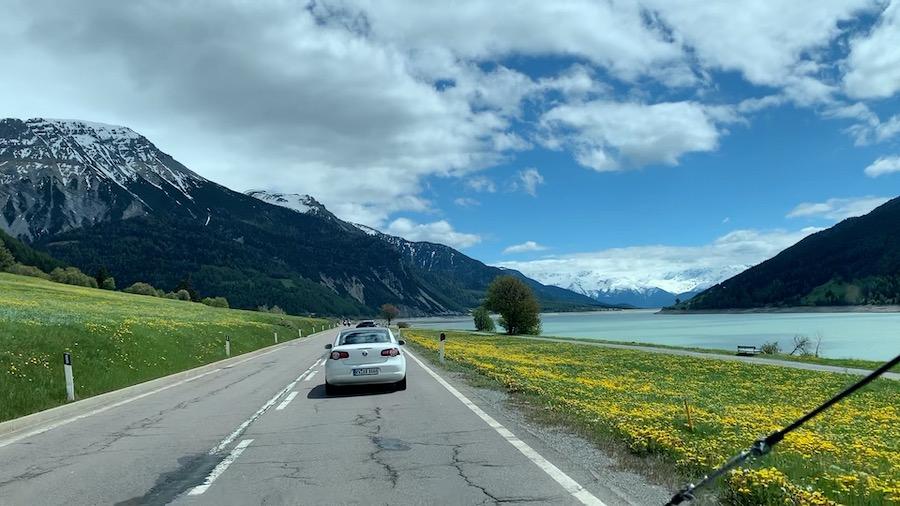 Der schöne Haidersee, mit Blick auf Alpen und umgarnt mit gelben Blumen.