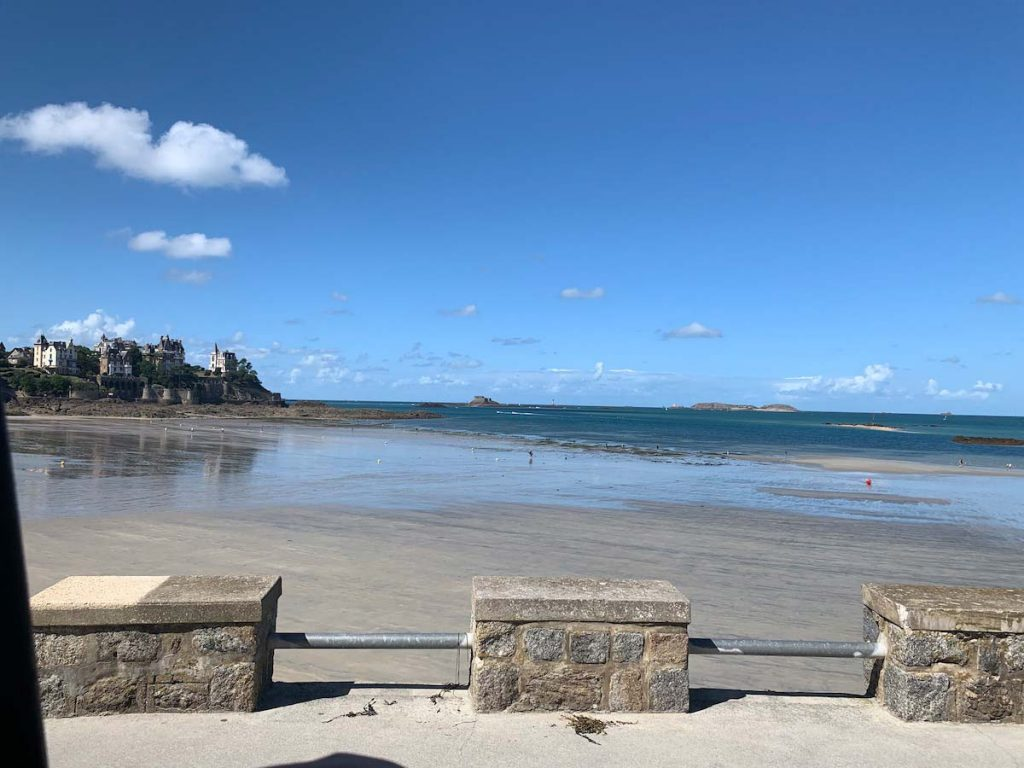 The beach in Dinard at low tide at the coasts of Brittany