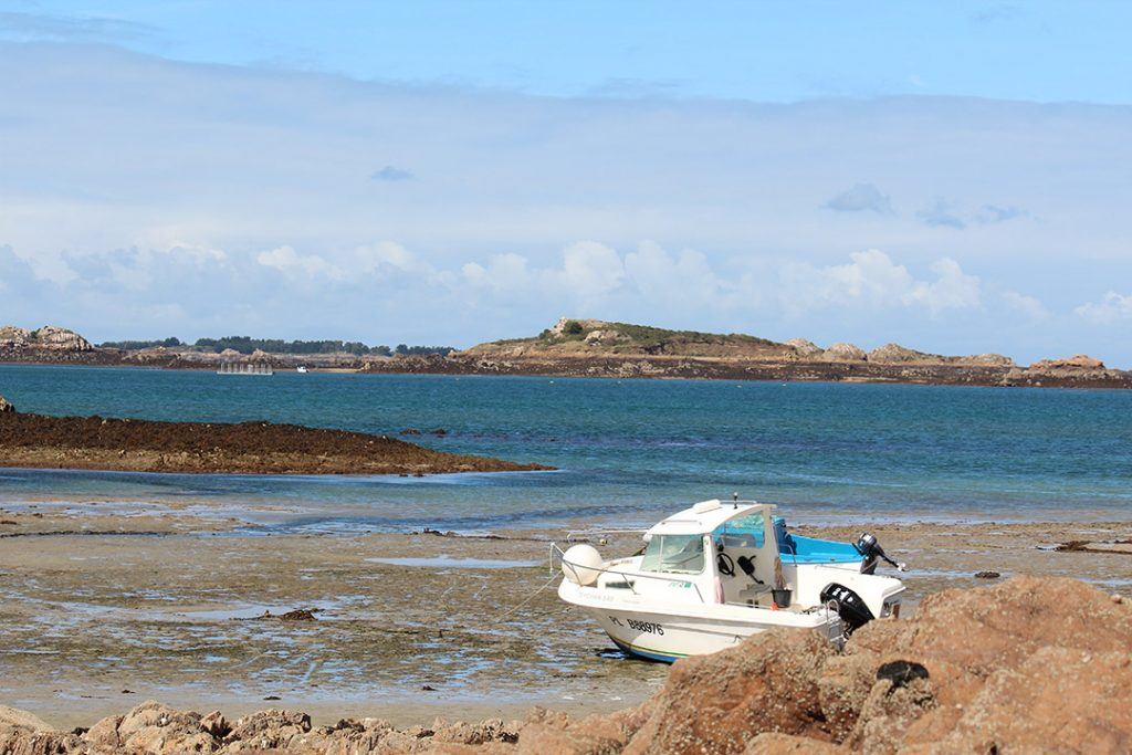 Low tide in Ploubazlanec at the English Channel. Boats on the shore are a typical sight at the coasts of brittany.